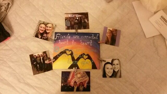 Going away present for my best friend  friends are connected heart to heart distance and time cant break them apart :)