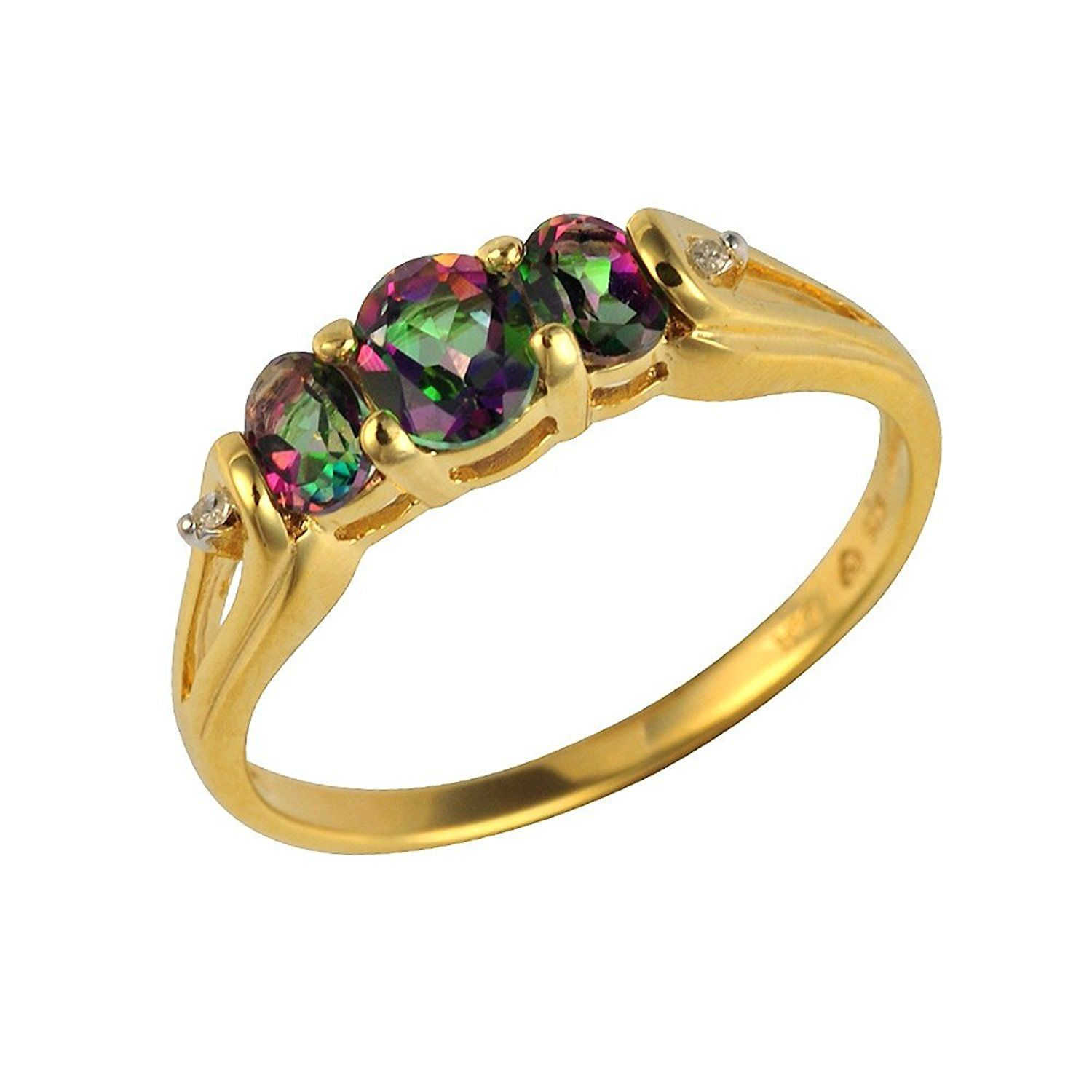 Ivy Gems Sterling Silver Gold Plate Mystic Green Topaz and Diamond Trilogy Ring KTqb9g