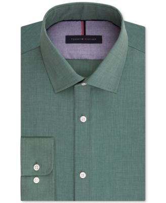 TOMMY HILFIGER Tommy Hilfiger Men's Slim-Fit Non-Iron Green Solid Dress Shirt. #tommyhilfiger #cloth # dress shirts