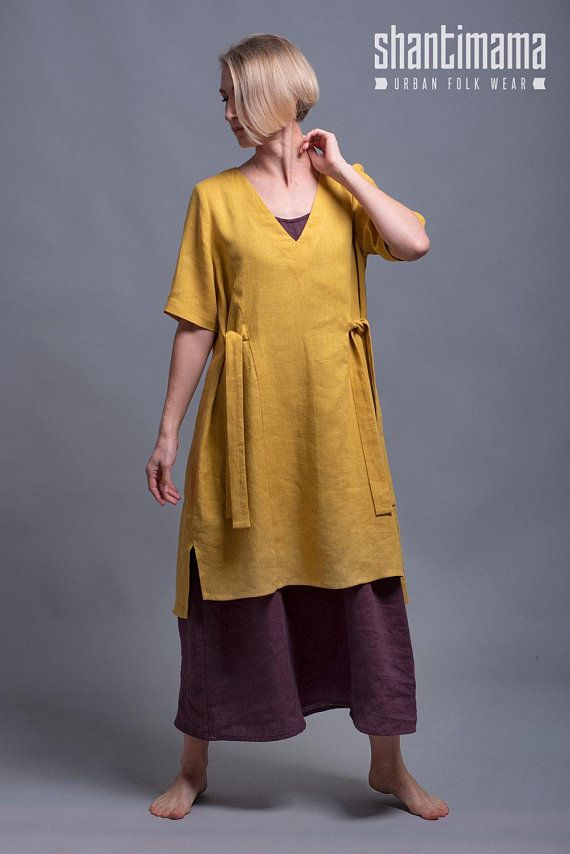 Yellow Tunic Dress ELLA, Casual Summer Top Tunic, Washed Linen Women's Clothes, Every Day Flax dress, Multi Layer Lagenlook Simple Dress