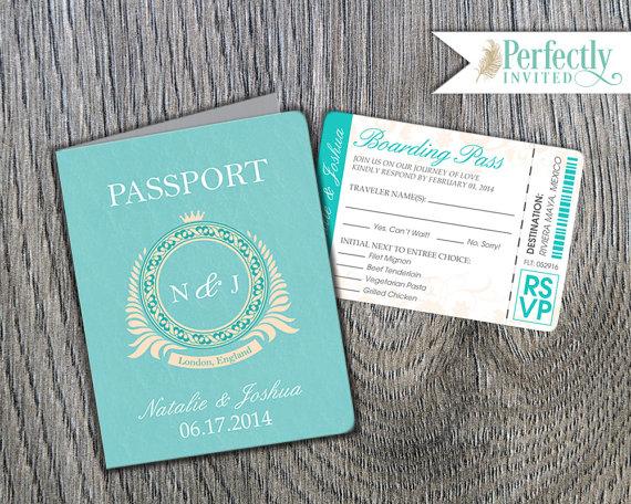 Passport Wedding Invitation, Classic Style Wedding Invitation, Beach Wedding Invitations, Wedding Invites – Design Deposit
