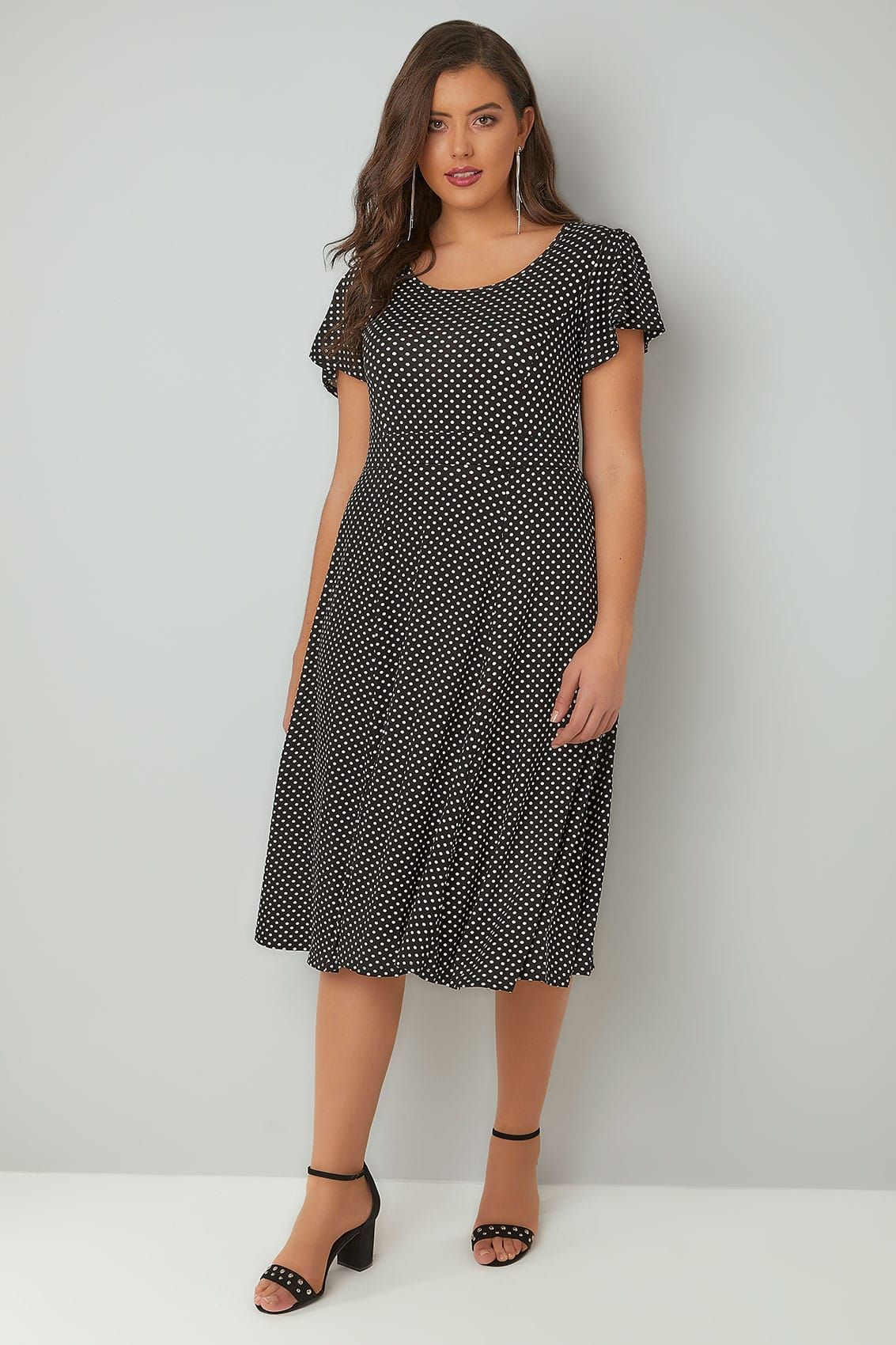3718b2801ad Black   White Polka Dot Dress With Self-Tie Waist   Angel Sleeves