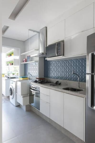 Adesivo De Parede Jesus Misericordioso ~ 44 Cozinhas Planejadas para Apartamentos Pequenos Cozinha planejada para apartamento, Azulejos