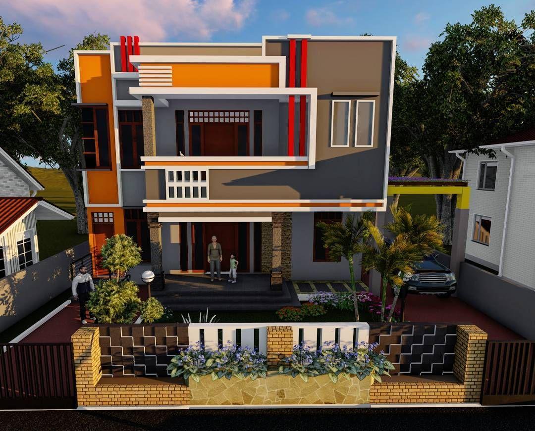 Tampak Depan Rumah Minimalis 2 Lantai Mewah Dengan Bangunan Tanpa Atap Dan Warna Cat Yang Bagus Rumah Minimalis Desain Rumah Rumah Mewah