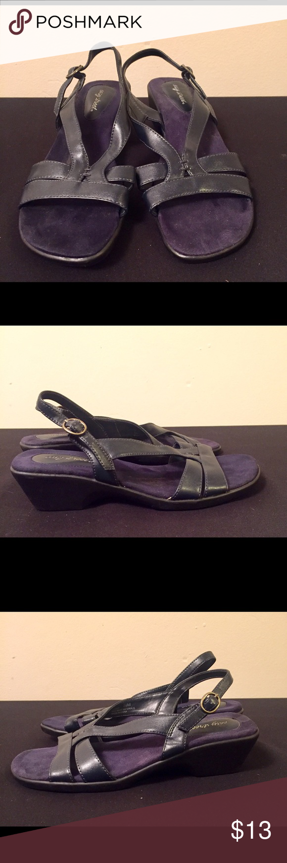 Like New Easy Street 7.5 Navy Blue Sandals Worn Twice. Like New Navy Blue Sandals. Open toe with ankle strap and open heel. All Man Made material. Little to no signs of wear on shoes or bottoms. Easy Street Shoes Sandals