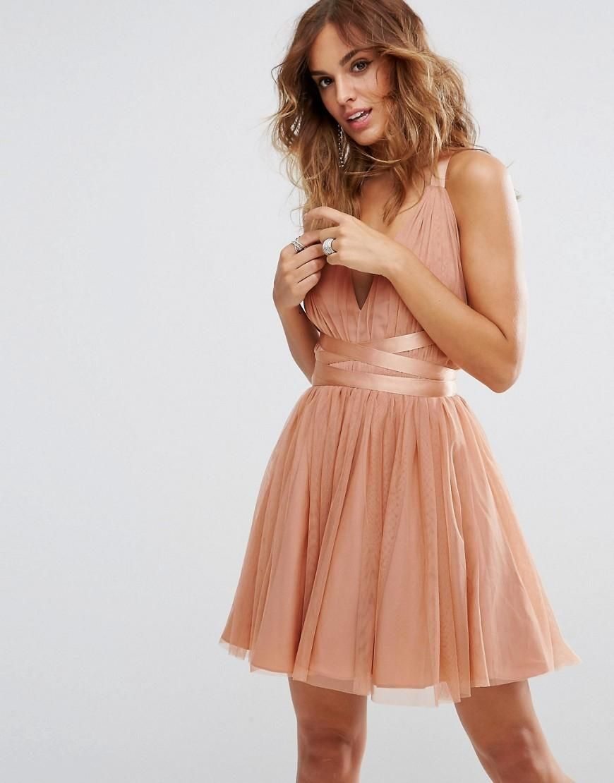 Asos asos asos premium tulle mini prom dress with ribbon ties