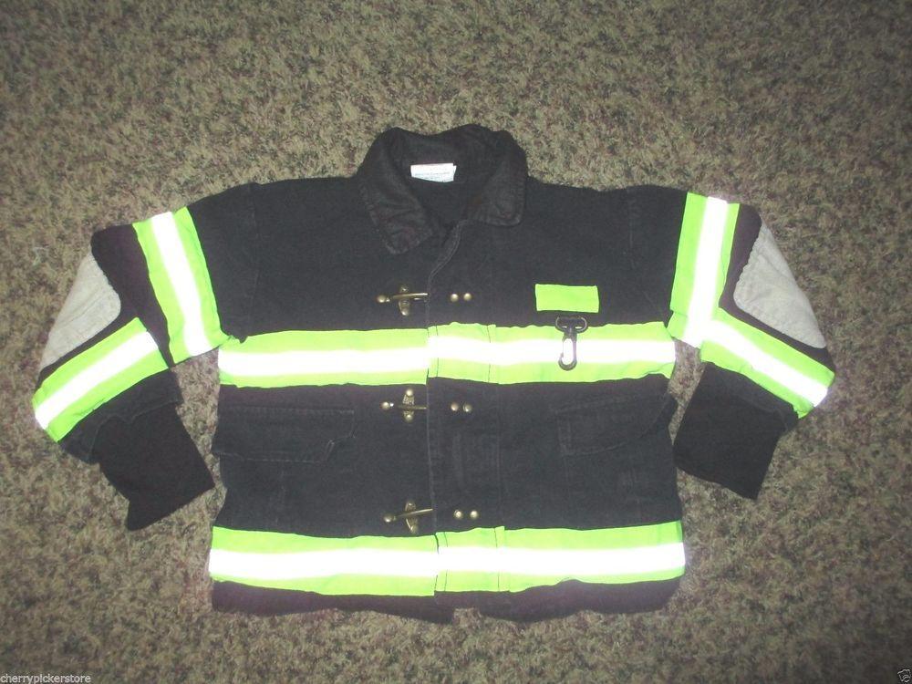Firefighter Turnout Jacket Child Size 3 4 Black Reflective Strips Clip CLosure  #TeetotandCo #Jacket #Everyday