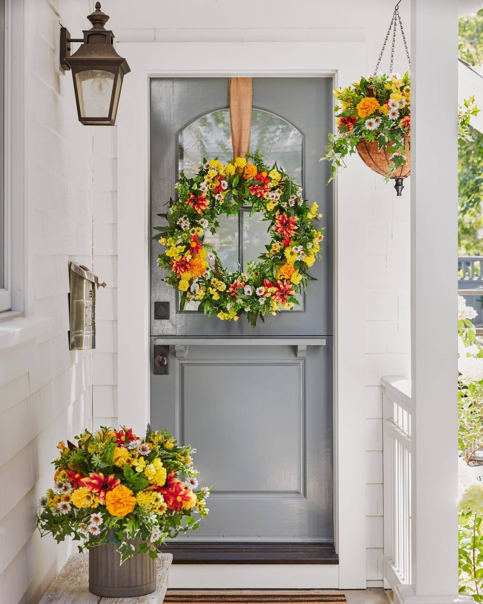 Outdoor Sunrise Dahlia Foliage In 2020 Artificial Flowers Outdoor Topiary Front Porch Decorating