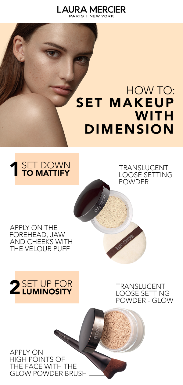 89ce5b0d87d0 Get a flawless finish with this makeup routine from Laura Mercier. Set down  shine with Translucent Loose Setting Powder. Apply with the velour puff.