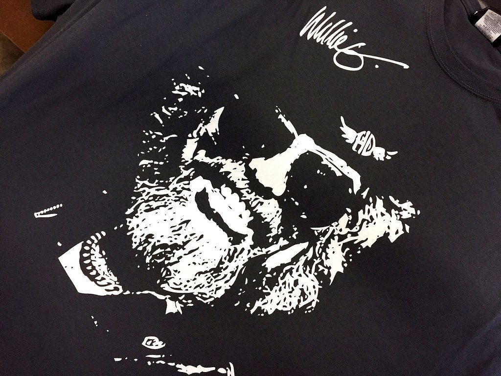 5bcf3c00 Screenprinting · One color white face on a black shirt One Color Face on Black  Shirt One Color
