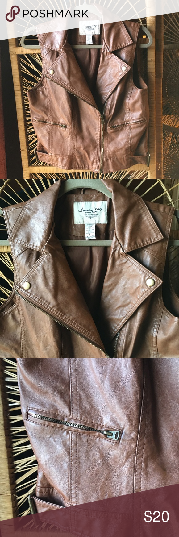 AMERICAN RAG Brown Faux Leather Moto Vest Large Leather