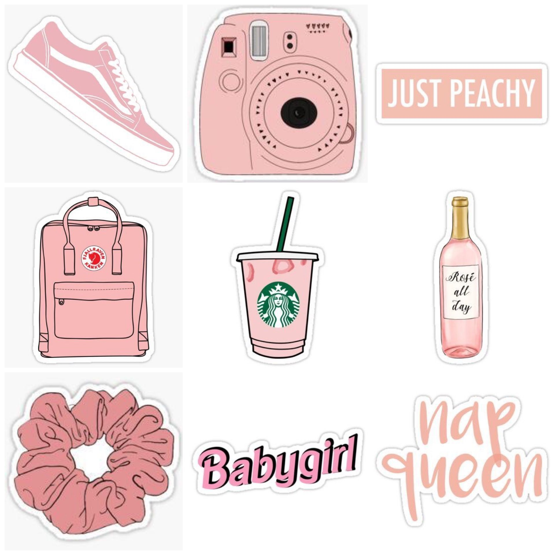 Pink Peachy Stickers Tumblr Stickers Aesthetic Stickers