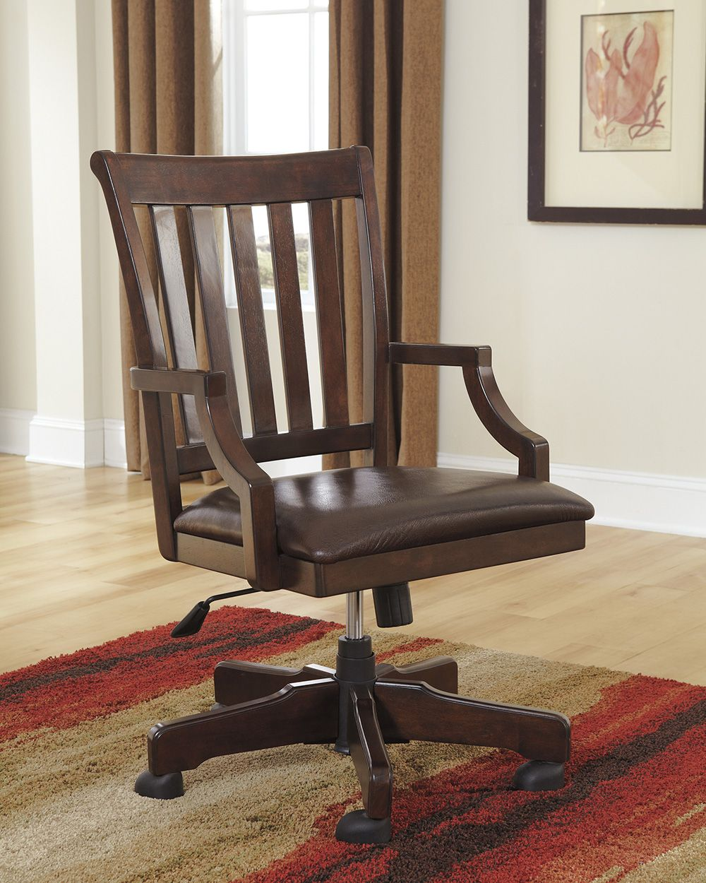 Rustikaler Schreibtisch Stuhl Ledersessel Braun