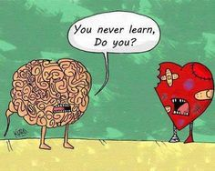 Brain scolds Heart for never learning! People are always whining about a broken heart...Are you fricking kidding me. use your brain and stop relying on the quote feelings of your heart #dislike when people don't learn to listen to there brain - Ending it can be tough to take... but a new love will enter your future soon as soon as you ... http://www.psychicinstantmessaging.co.uk/pimpin4