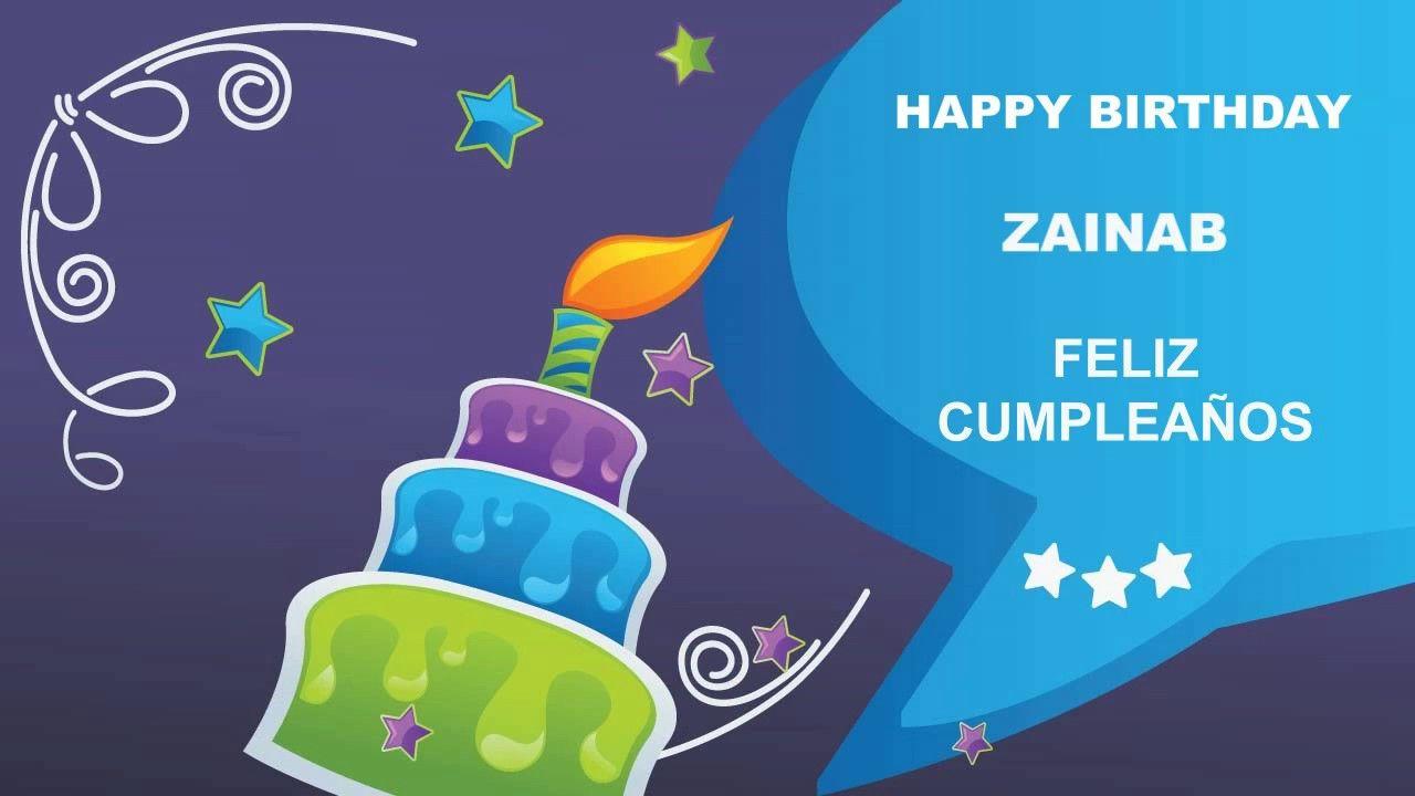 Zainab Card Happy Birthday With Images Happy Birthday