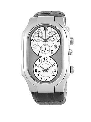 Philip Stein Leather Strap Chronograph - Grey - Size No Size