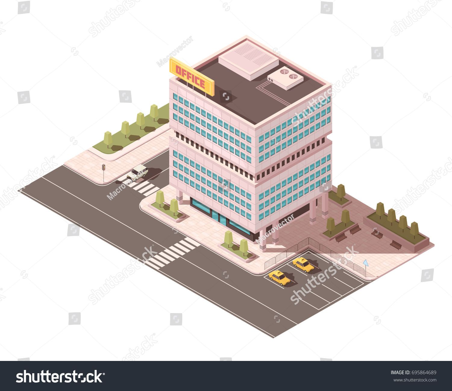 By Macrovector Office Building With Ventilation Equipment On Roof Road Infrastructure And Parking Ventilation Equipment Building Ventilation Roofing Equipment