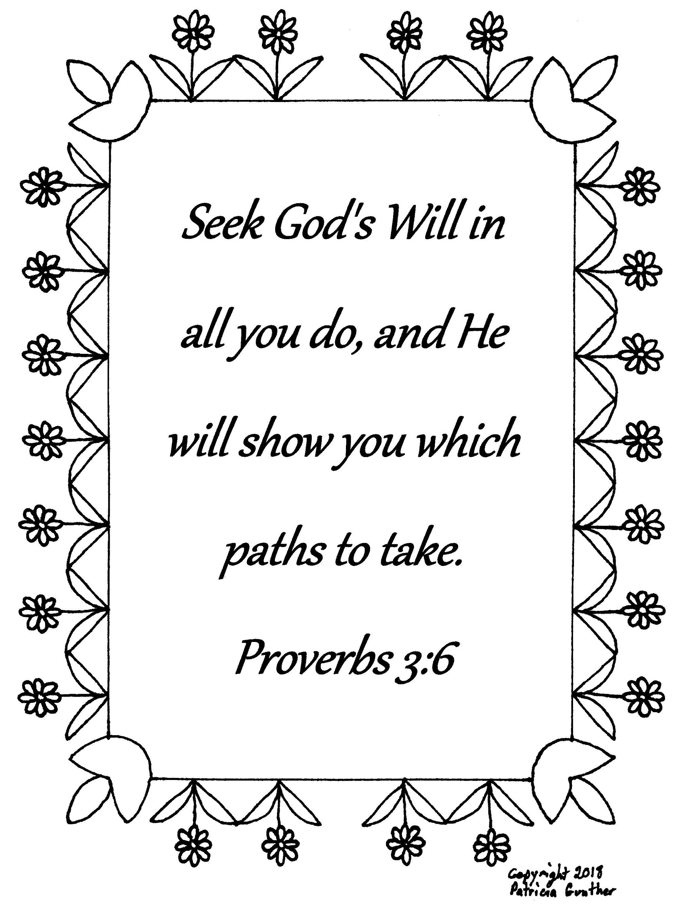 Seek God S Will In All You Do Proverbs 3 6 Bible Verse Coloring