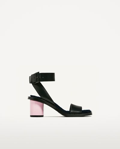 Image 2 of HIGH HEEL SANDALS WITH FAUX FUR from Zara