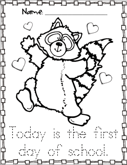kissing hand activities free chester the raccoon coloring page first day of school with - First Day Of Preschool Coloring Pages