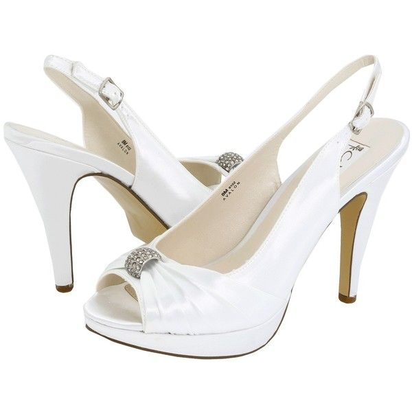 COLORIFFIC Womens AVALON White Satin Vamp Details Peep Toe Platform Heel 7.5 M