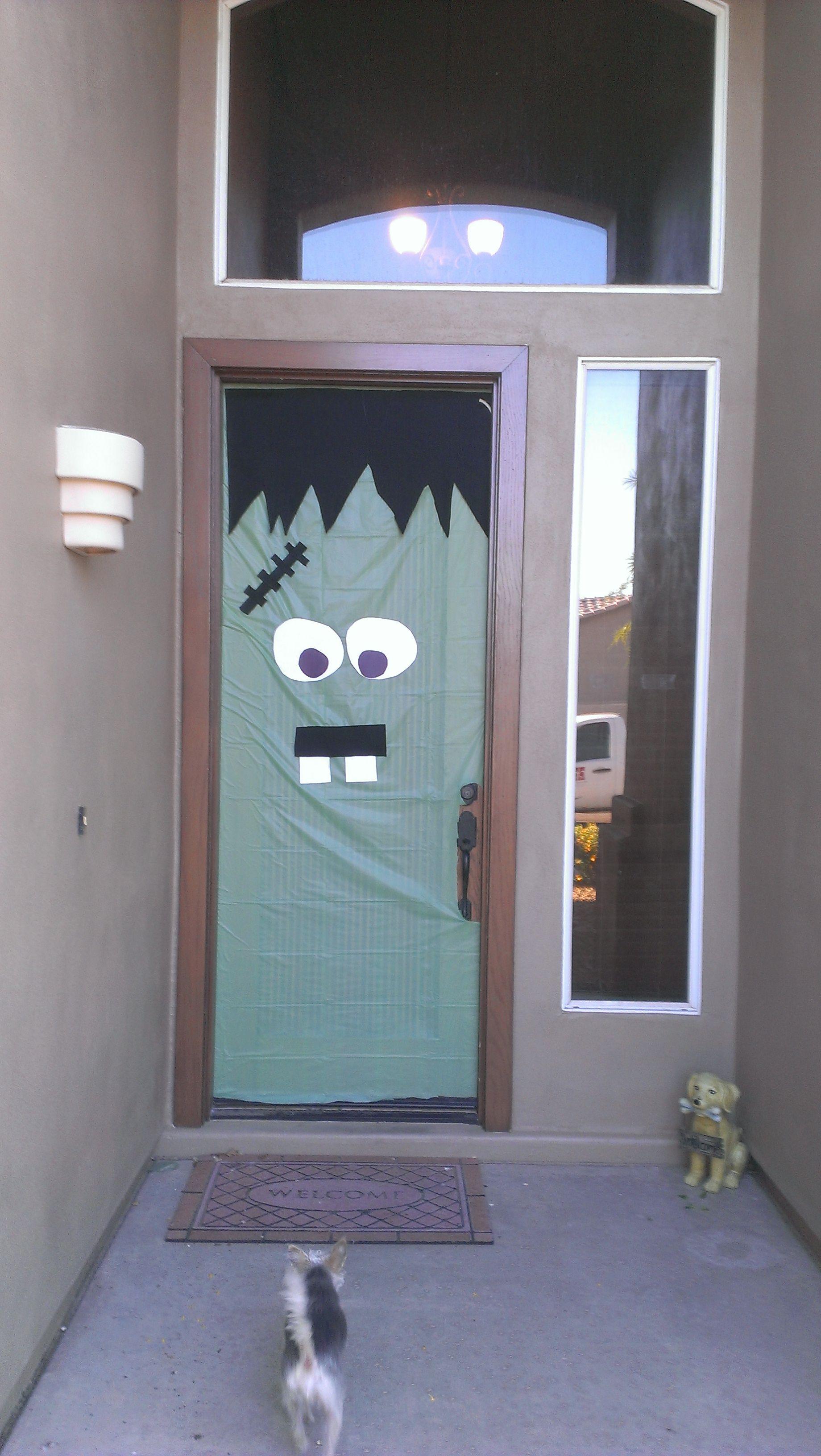 Frankenstein Door; Lime Green tablecloth from Walmart Black Felt construction paper. Cost & Frankenstein Door; Lime Green tablecloth from Walmart Black Felt ...