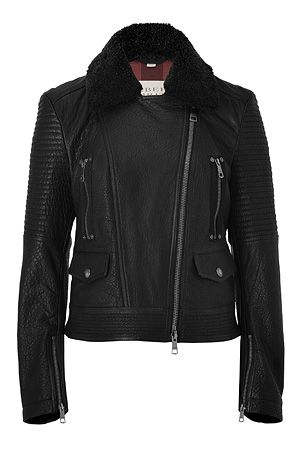 STYLEBOP.com | Black Edgewick Leather Jacket with Removable Fur Collar by BURBERRY BRIT | the latest trends from the capitals of the world