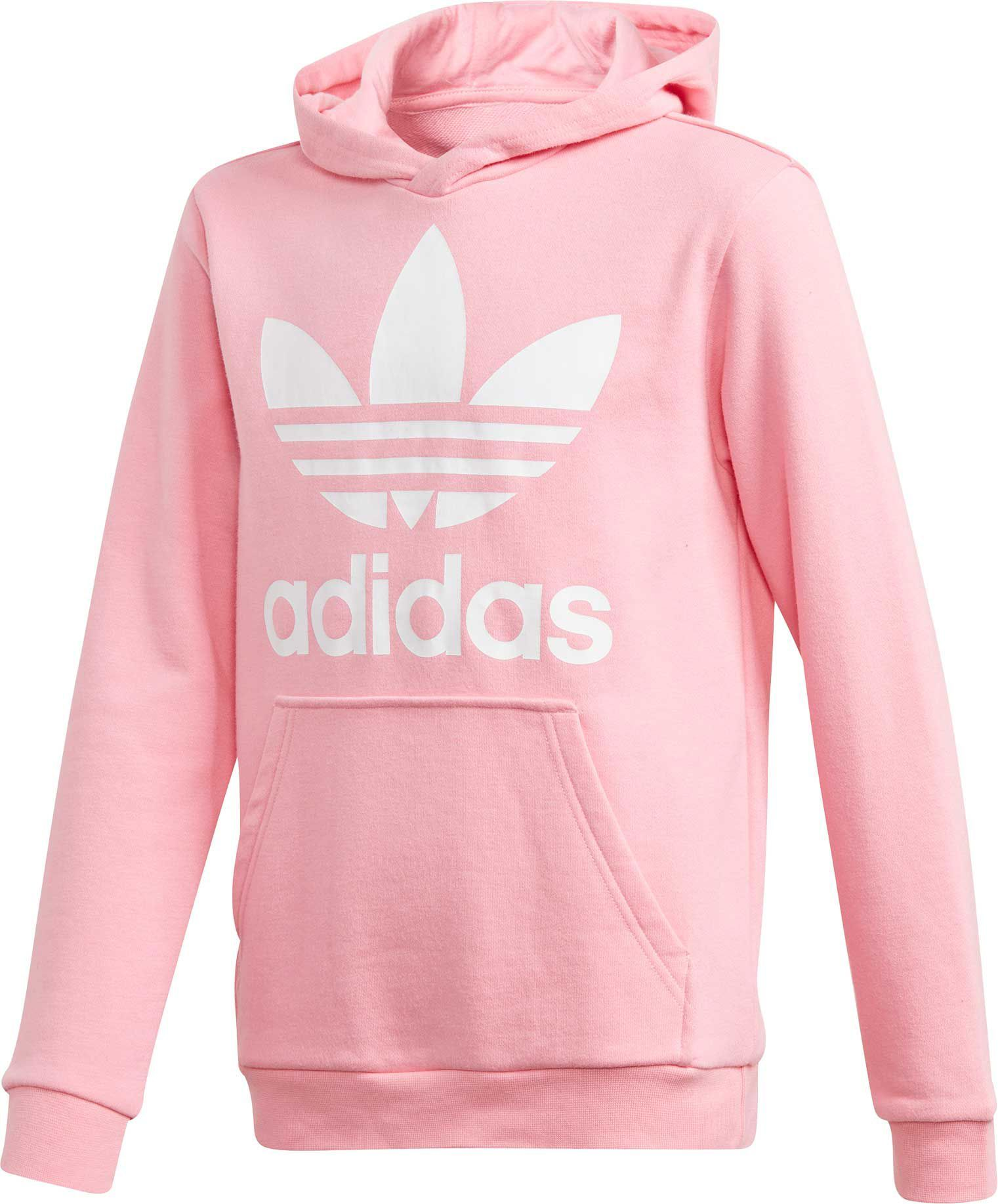 shop best sellers best shoes autumn shoes adidas Originals Girls' Trefoil Hoodie, Light Pink/White in ...