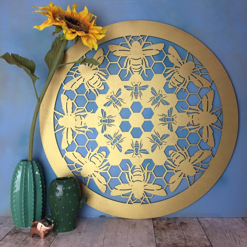 Bumble Bee Laser Cut Wooden Wall Art | Bees, Mandala and Wooden wall art