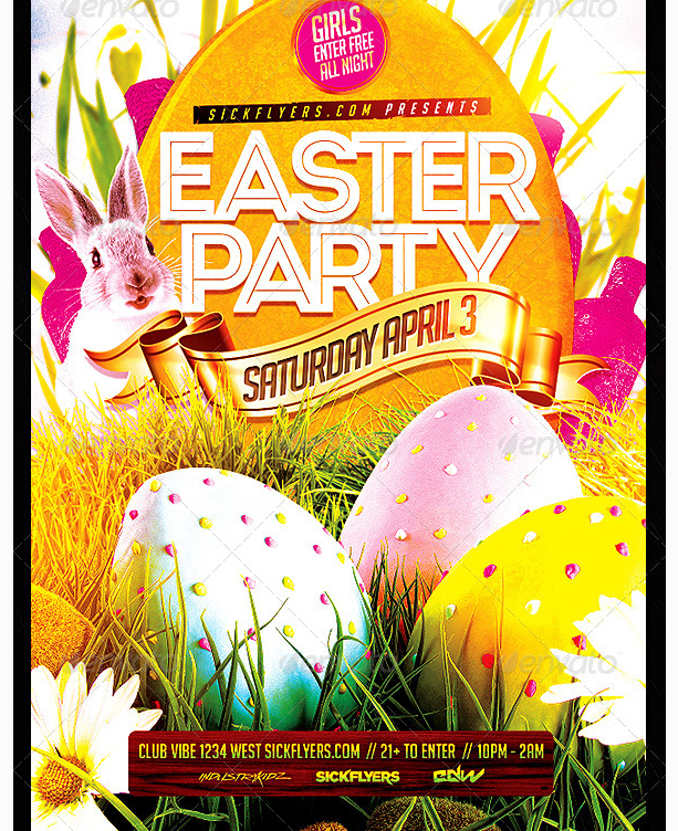 Easter Flyer Template Party Templates For Clubs Business Marketing