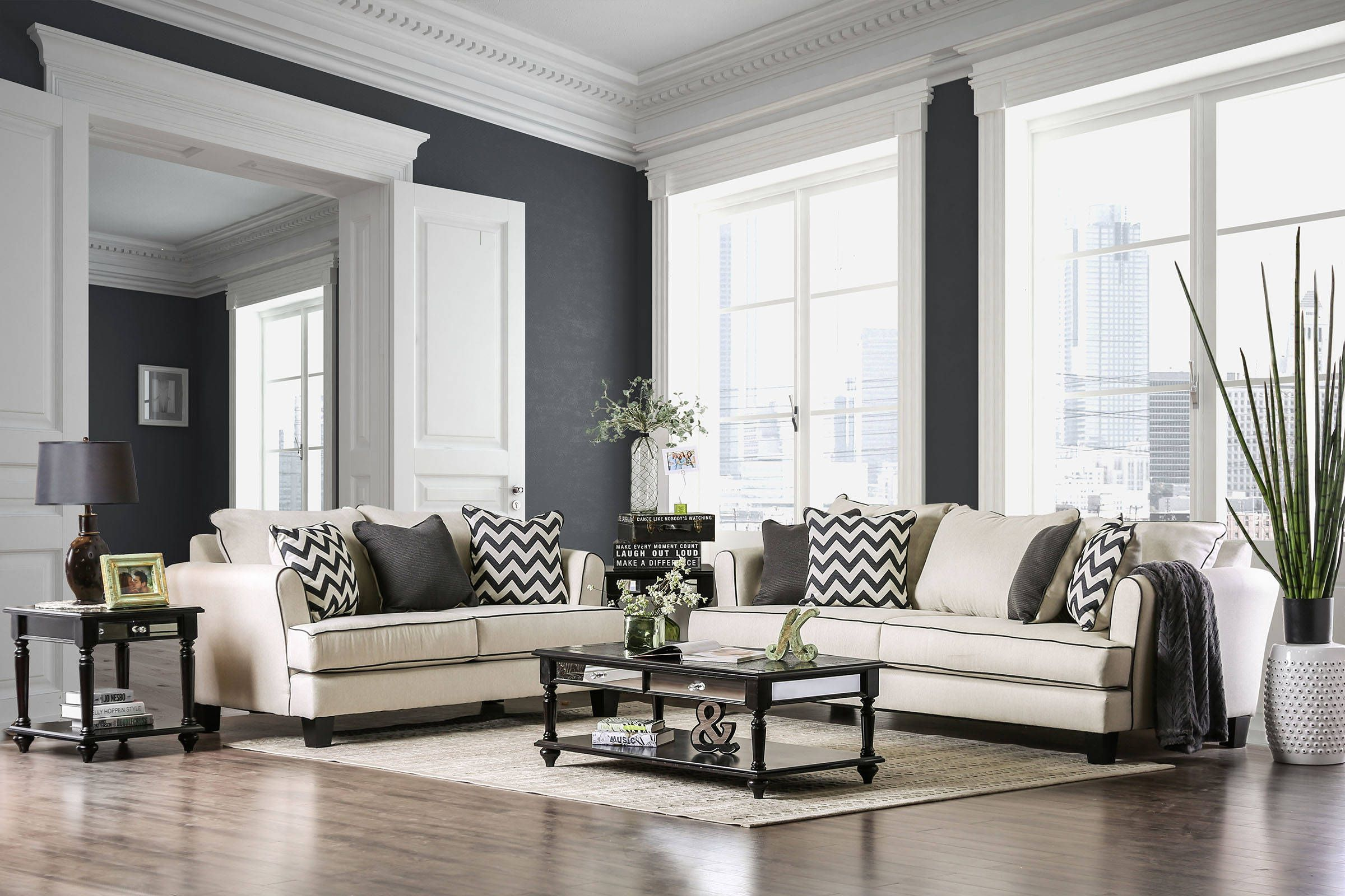 Percey Transitional Off White Fabric Living Room Set | The Classy ...