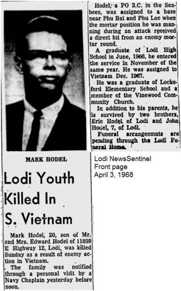 Virtual Vietnam Veterans Wall of Faces | MARK E HODEL | NAVY