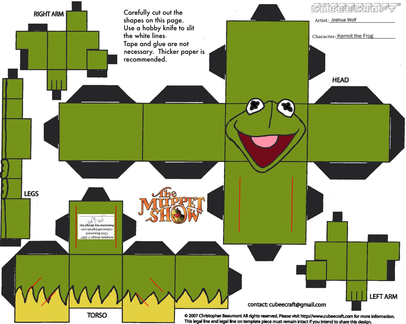 Paper Frog Craft Template  Paper Cuts    Animal