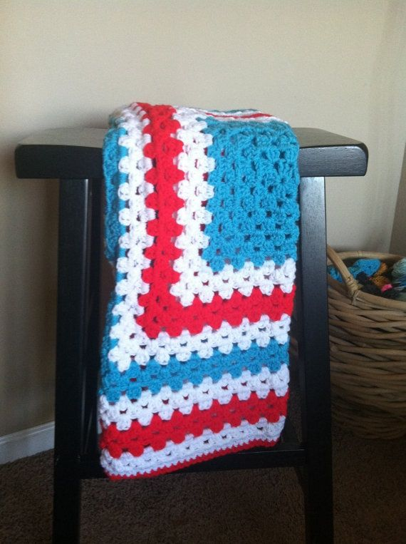 Dr. Seuss Afghan Crochet | Red White and Blue Dr Seuss inspired ...