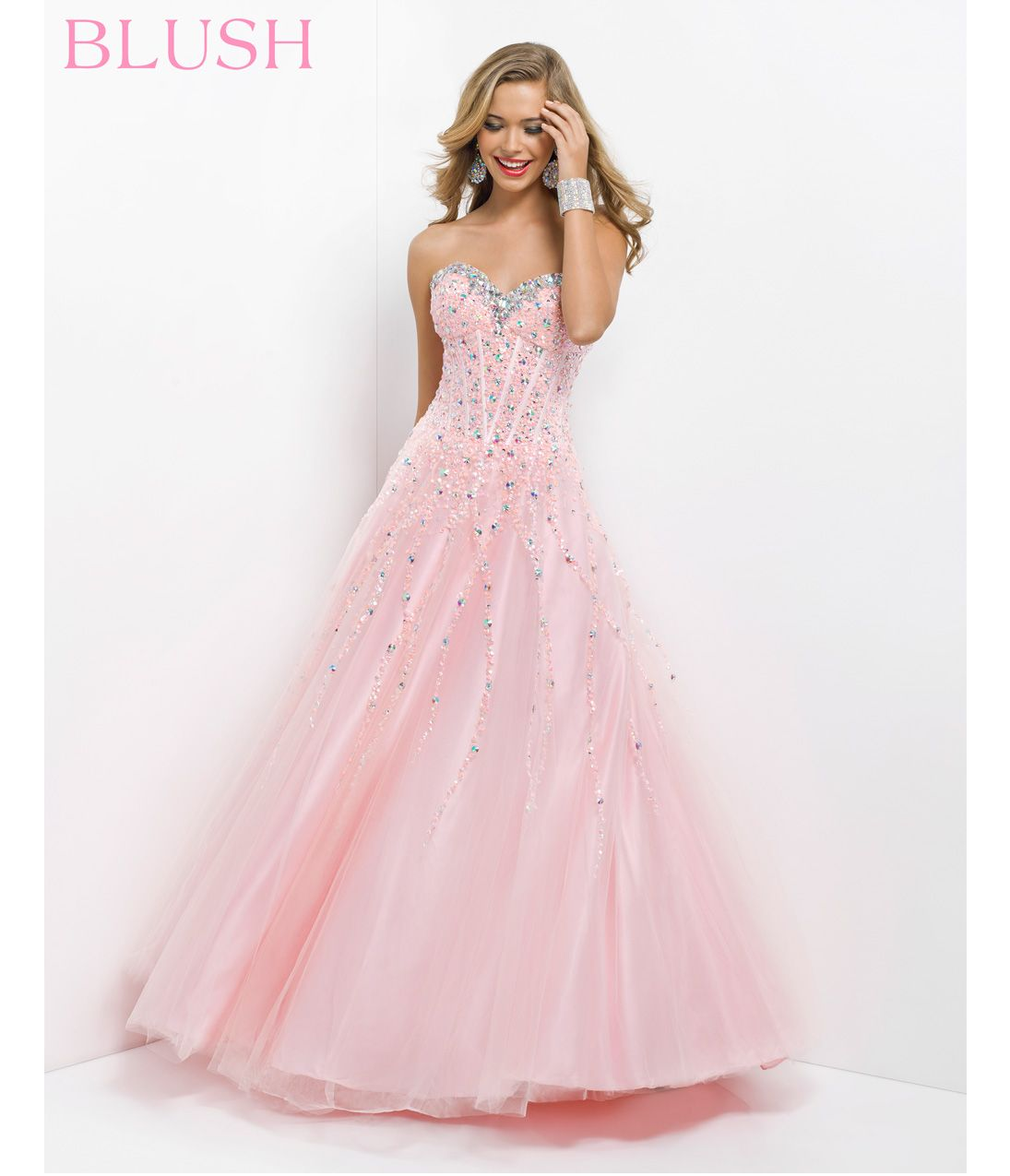 Pink by Blush 2014 Prom Dresses - Tea Rose Corset Sequin Prom Gown ...
