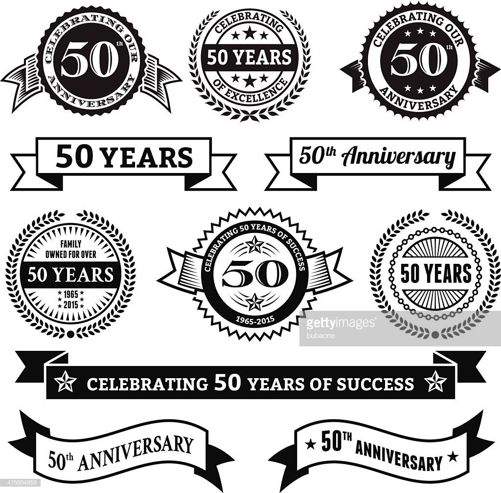 fifty year anniversary vector badge set royalty free