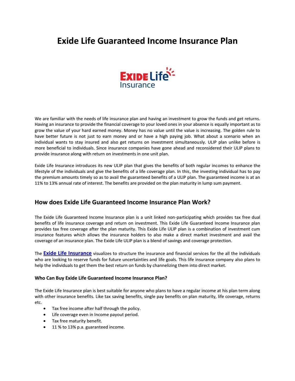 Guaranteed Income Ulip Plan From Exide Life Insurance Guaranteed