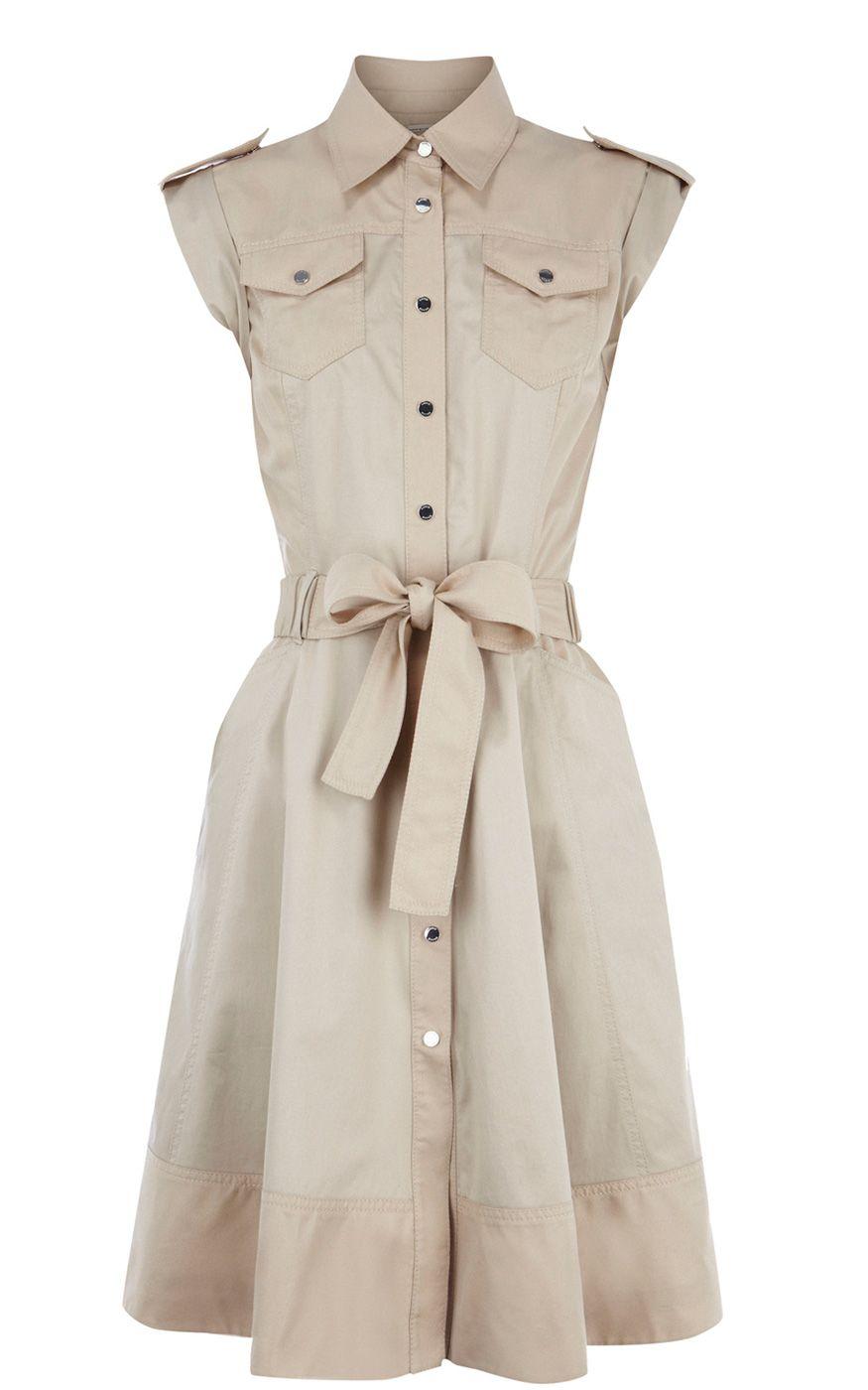 Popular Karen Millen Soft Safari Dress Neutral ,fashion Karen Millen Solid  GM14