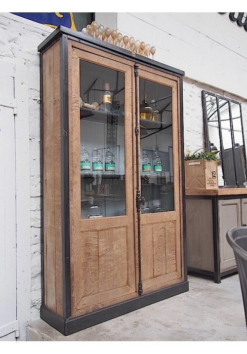 Vitrine bois et m tal de pharmacie industrial furniture for Meuble mural vitrine