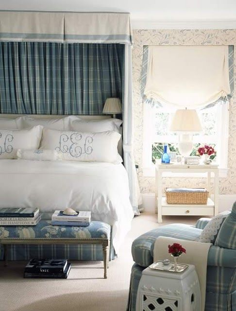 beautiful blue and white bedroom: classic • casual • home: Pillow Addict VII • The Enchanted Home
