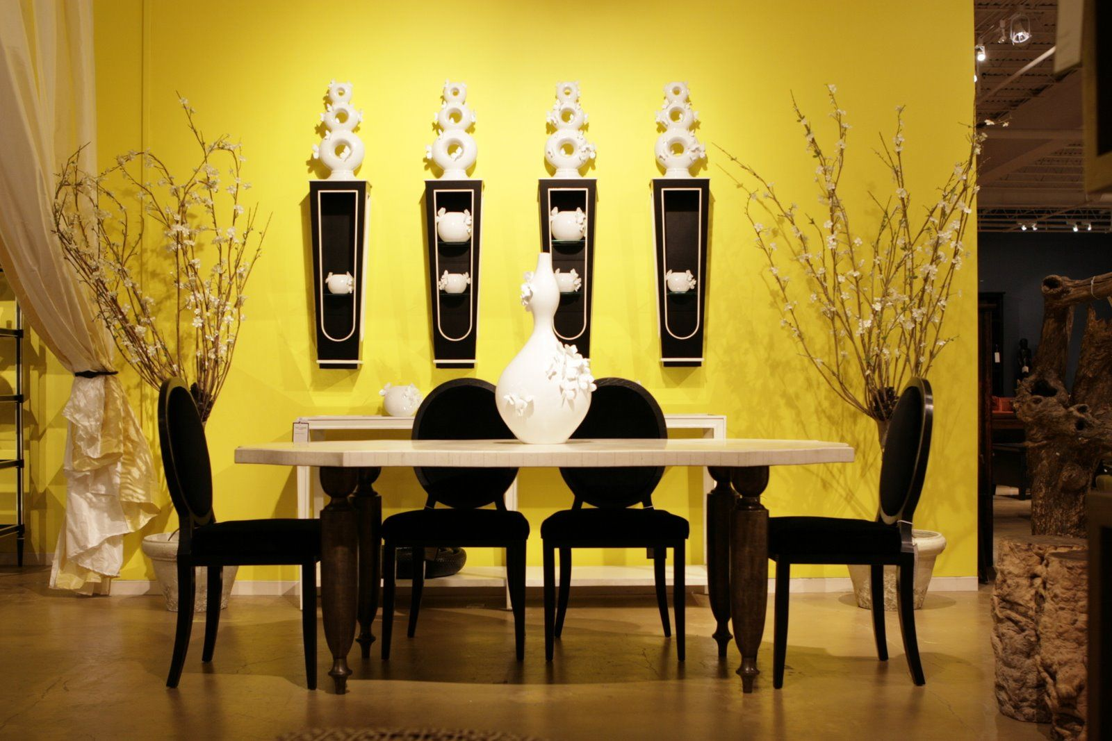 Black Walls Minimalist Dining Room With Yellow Wall