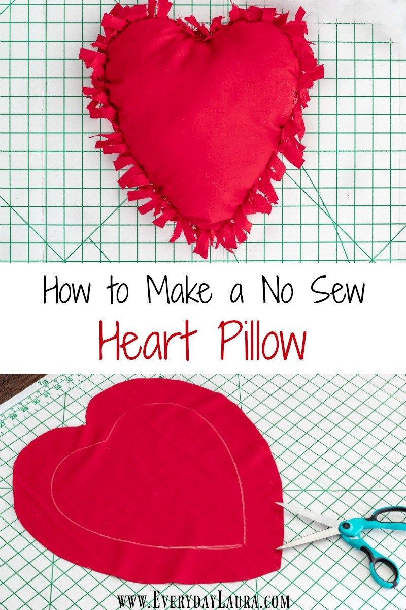 How To Make A Simple No Sew Heart Shaped Pillow For