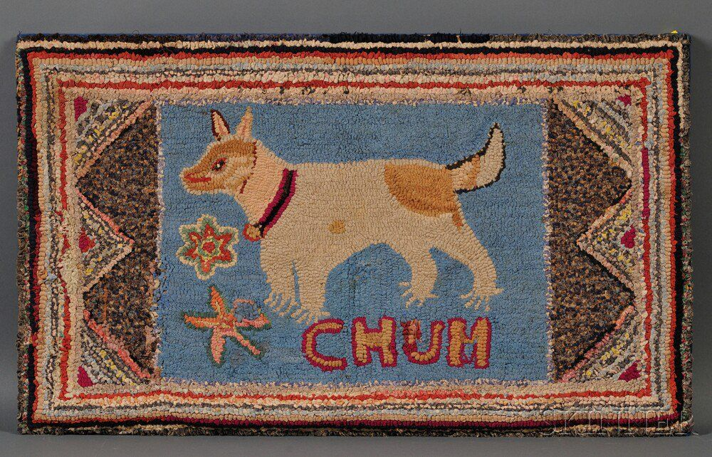 """""""CHUM"""" Figural Hooked Rug with Dog Hooked rugs primitive"""