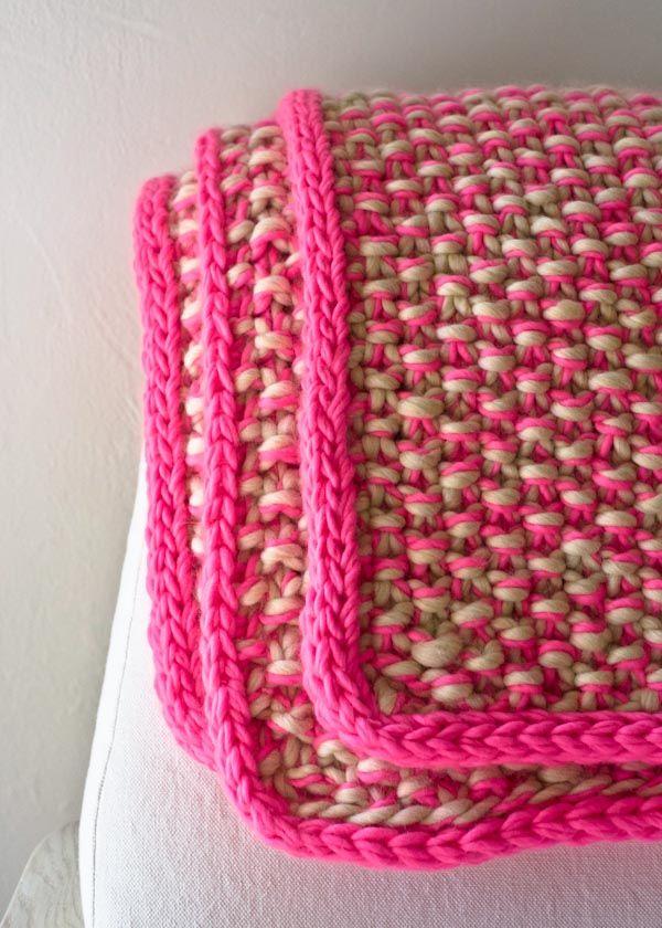 couverture tricot point riz | tricot facile | Pinterest | Stricken ...