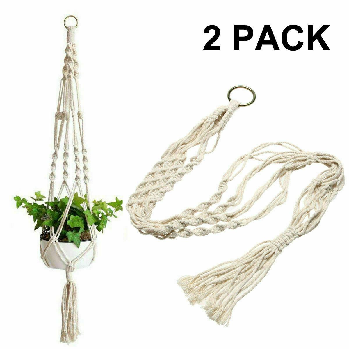 2 Pack Plant Hanger Flower Pot Plant Holder Large 4 Legs Macrame Jute 41 Inch In 2020 Plant Holders Plant Hanger Metal Plant Hangers