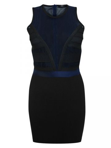 Markus Lupfer Tape Emma Dress. This bodycon dress from Markus Lupfer is black and midnight navy with sheer mesh top and block black skirt. The shaped opaque black strips of elastic and a single black perforated panel complete the design. There is a lighter blue elasticated waistband and fully see-through mesh back with concealed zip. Super sexy yet comfortable. 69% viscose, 25% polyamide, 6%elastane.