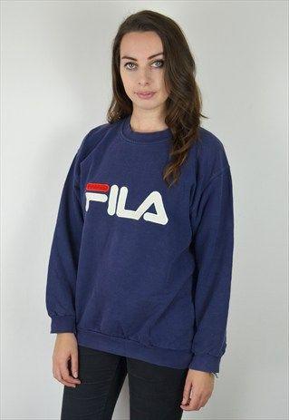 90'S VINTAGE NAVY FILA SWEATSHIRT   Sweatshirts, Women