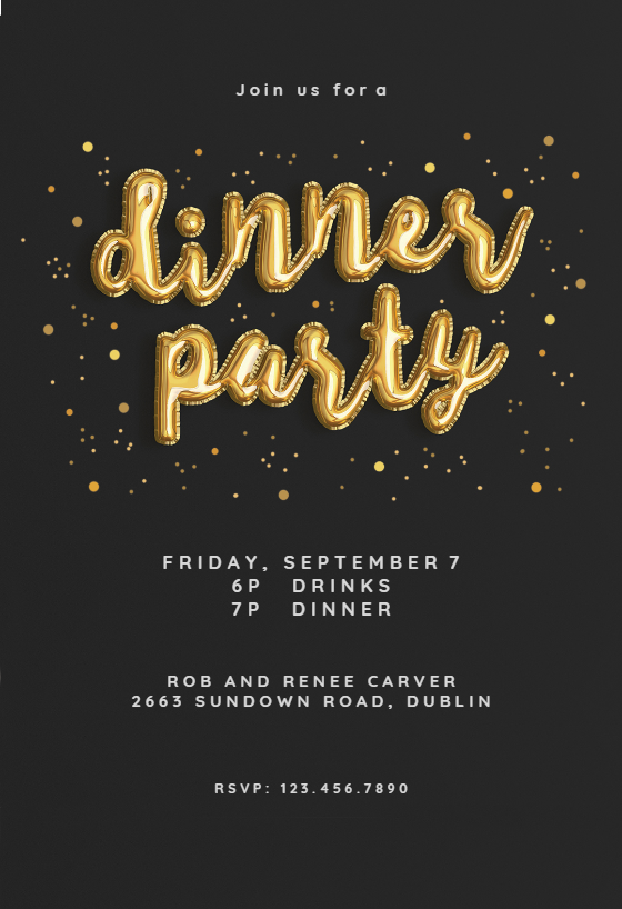 Balloons Of Course Dinner Party Invitation Template Free Greetings Island Dinner Invitation Template Party Invite Template Dinner Party Invitations