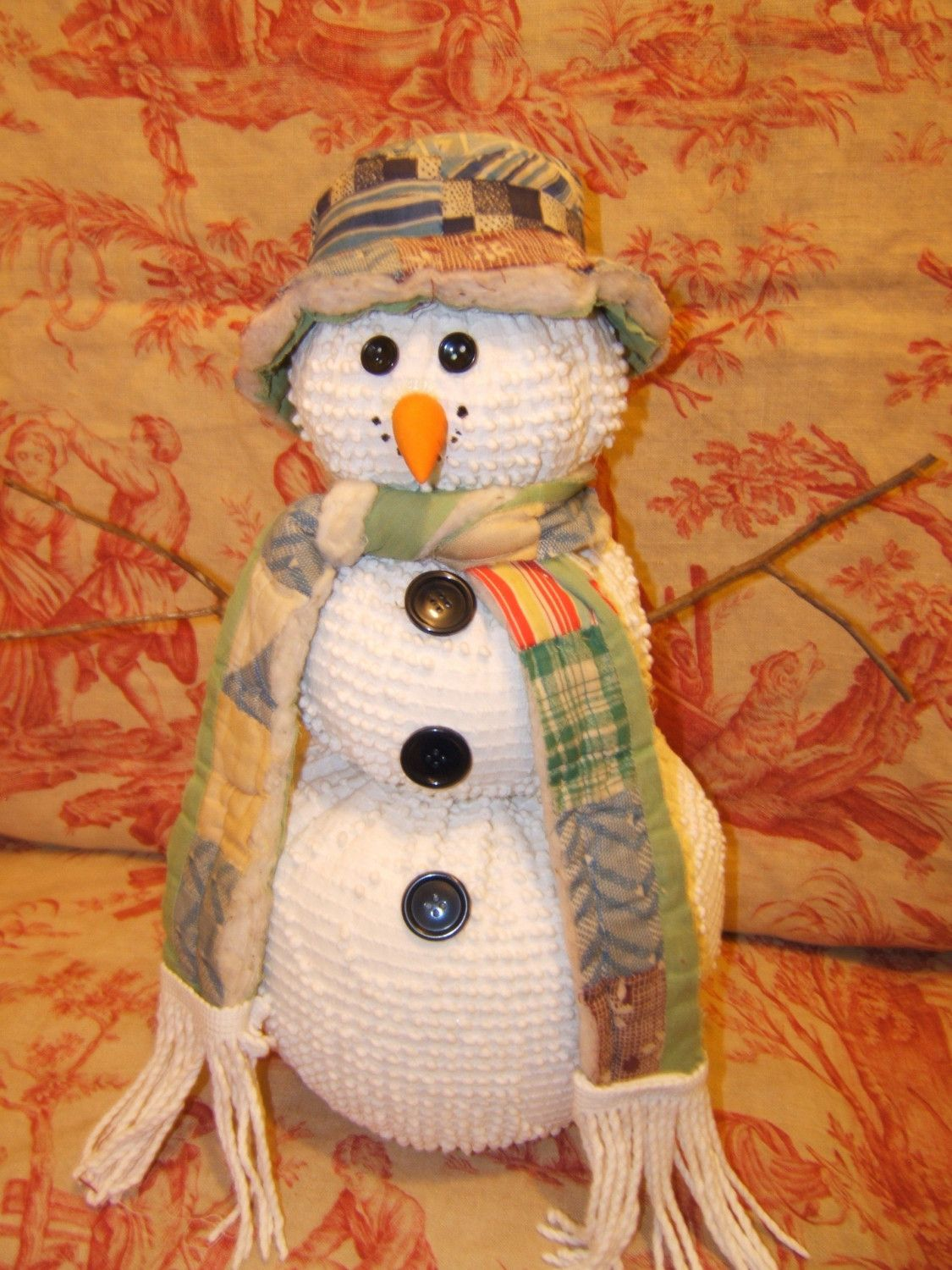 easy craft ideas large snowmen made from vintage chenille bedspreads and 1927