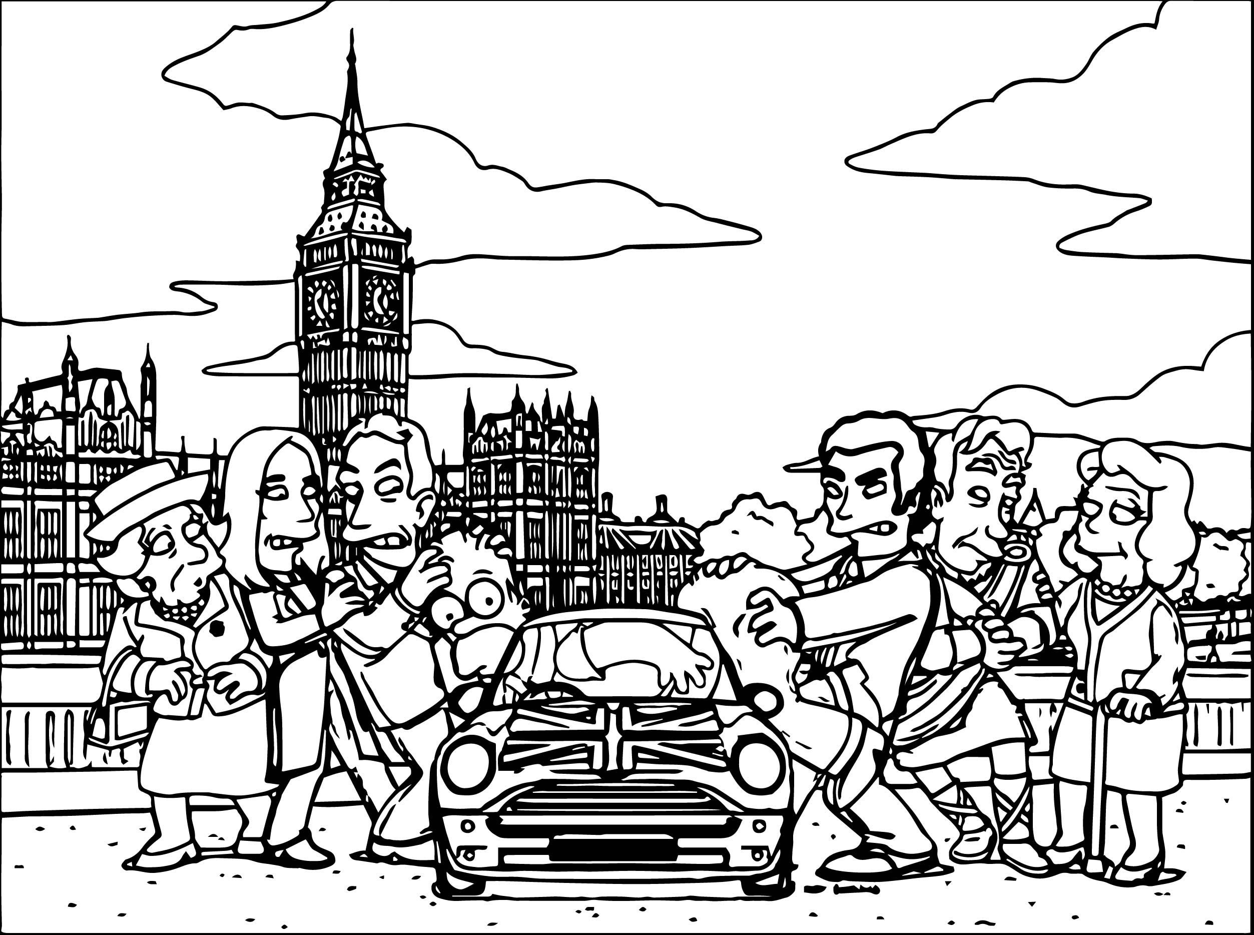 Awesome the simpsons small car coloring page wecoloringpage in
